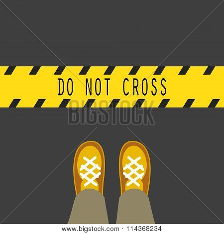 Do not cross the line road sign.
