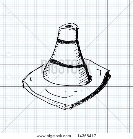 Simple Doodle Of A Traffic Cone