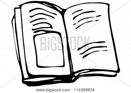Vector Sketch Of An Open Book With Picturesb
