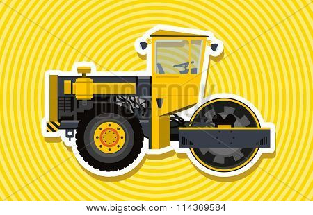 Yellow big roller builds roads.
