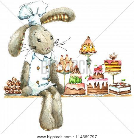 Cute rabbit. Watercolor bunny. Cute bunny for greetings card