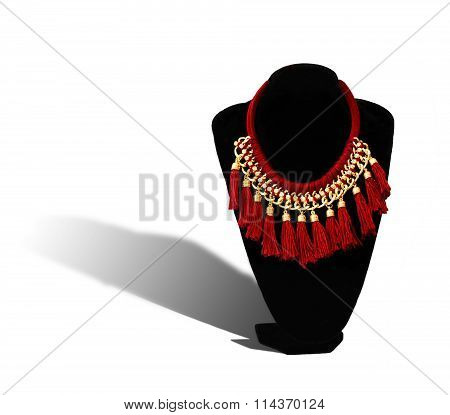 necklace with shadow isolated on white