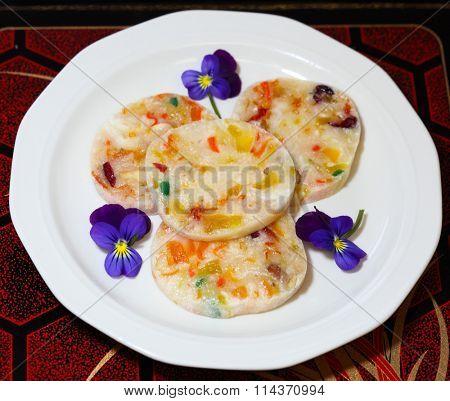 Vietnamese Fruit Cake (banh bo mut) for celebrating Lunar Festival or new year