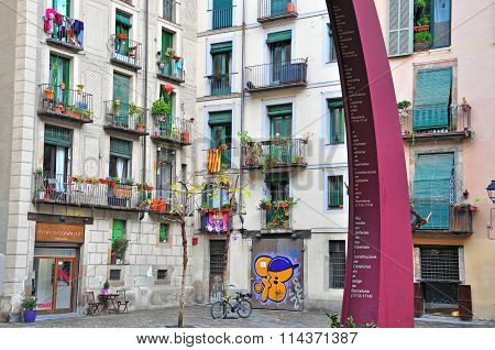 Typical House Of Barcelona Street
