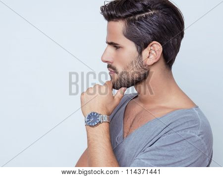 handsome young and fit man in casual clothes