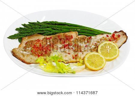 Grilled Whitefish white fish with asparagus