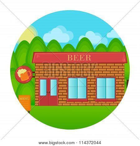 Beer pub building concept. Tavern house landscape. Vector cartoon illustration.