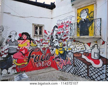 Portuguese Fado Graffiti In The Street Of Lisbon