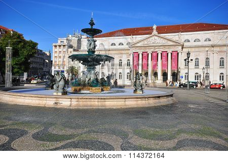 National Theatre On Dom Pedro Iv Square In Lisbon