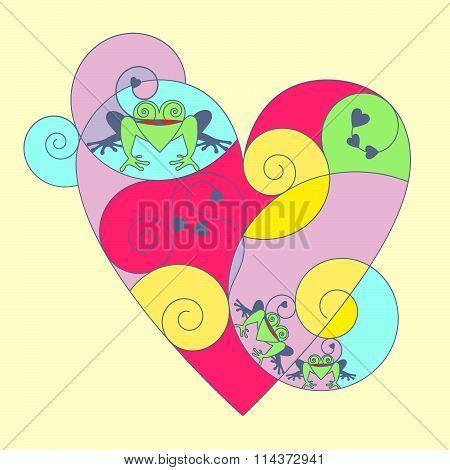 Multi-colored heart with frogs