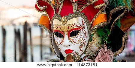 Venice Mask Isolated During Venice Carnival
