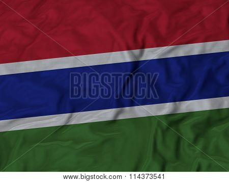 Close Up Of Ruffled Gambia Flag