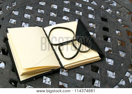 Blank Writers Journal Outside On Table