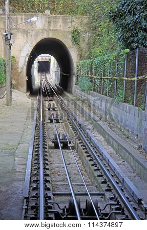Barcelona, Catalonia, Spain - December 14, 2011: Railroad Of Funicular De Montjuic In Barcelona