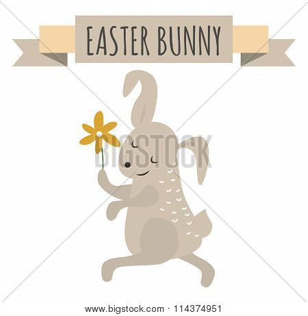 Cute bunny holding flower cute vector style.