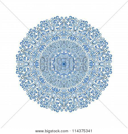Mandala Pattern. Watercolor Vector Blue Background.