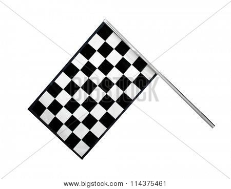 Checkered race finish flag isolated on white background
