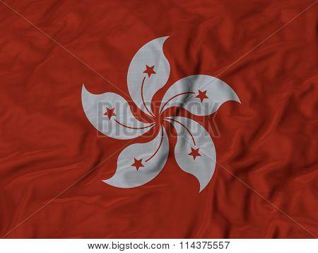 Close Up Of Ruffled Hong Kong Flag
