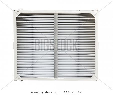 Air conditioner and furnace filter isolated on white background