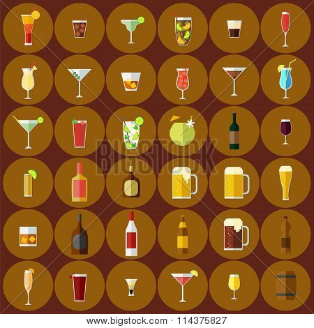 Alcoholic beverages set