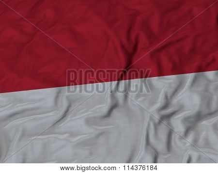 Close Up Of Ruffled Indonesia Flag
