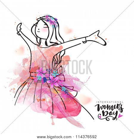 Creative illustration of young happy girl with splash and flowers for International Women\'s Day cele