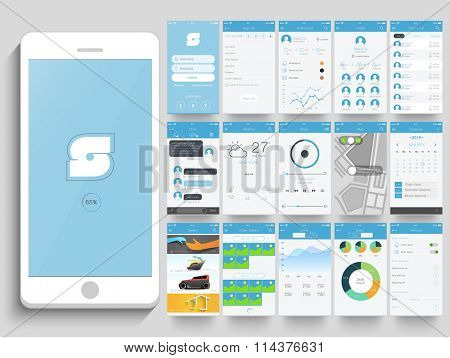 Creative Mobile Application User Interface layout with smartphone and different screen presentation.