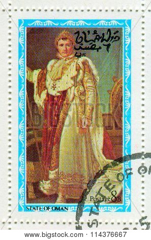 GOMEL, BELARUS - JANUARY 2016: A stamp printed in State Of Oman shows image of the Napoleon Bonaparte (15 August 1769 -?? 5 May 1821) was a French military and political leader, circa 1976.