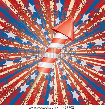 vector fireworks rocket on patriotic burst background