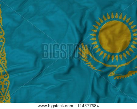 Close Up Of Ruffled Kazakhstan Flag