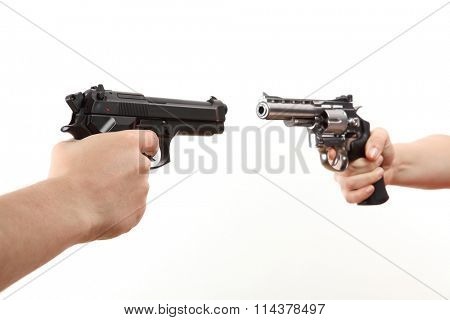 two white hands hold gun isolated on white background