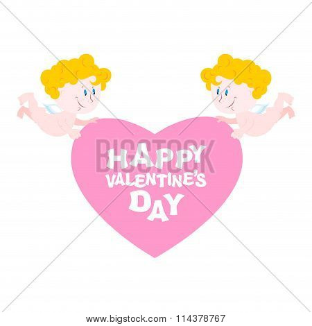 Happy Valentine's Day. Two Angels And Heart. Symbol Of Love. Small Perky Cupids And Pink Heart. Cupi