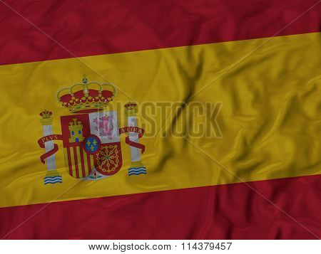 Close Up Of Ruffled Spain Flag