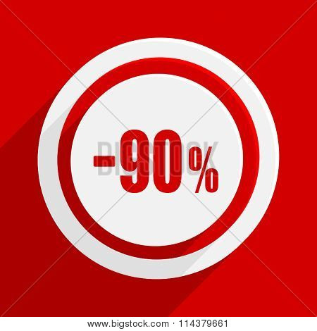 90 percent sale retail red flat design modern vector icon for web and mobile app