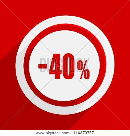 40 percent sale retail red flat design modern vector icon for web and mobile app