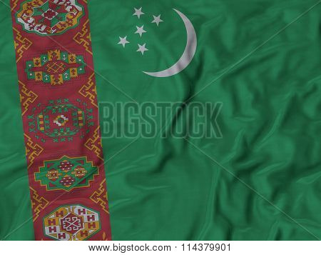 Close Up Of Ruffled Turkmenistan Flag