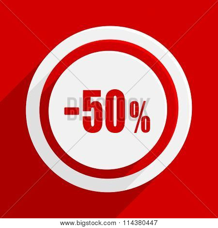 50 percent sale retail red flat design modern vector icon for web and mobile app