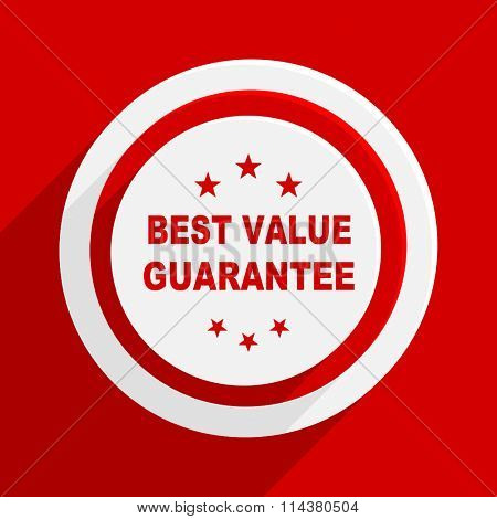 best value guarantee red flat design modern vector icon for web and mobile app