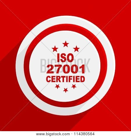 iso 27001 red flat design modern vector icon for web and mobile app