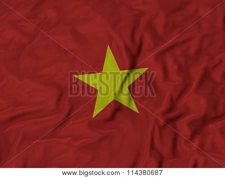 Close Up Of Ruffled Vietnam Flag