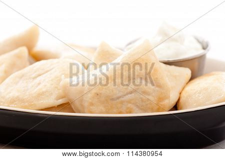 Fried Perogie With Sour Cream