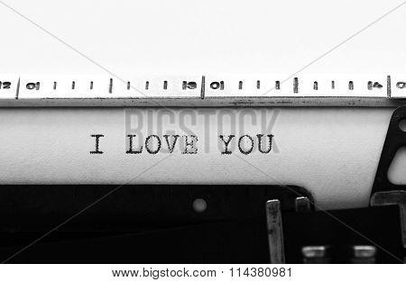 Typewriter. Typing Text: I Love You