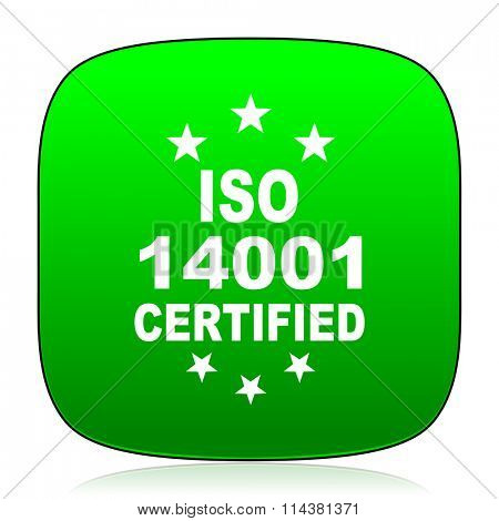 iso 14001 green icon for web and mobile app