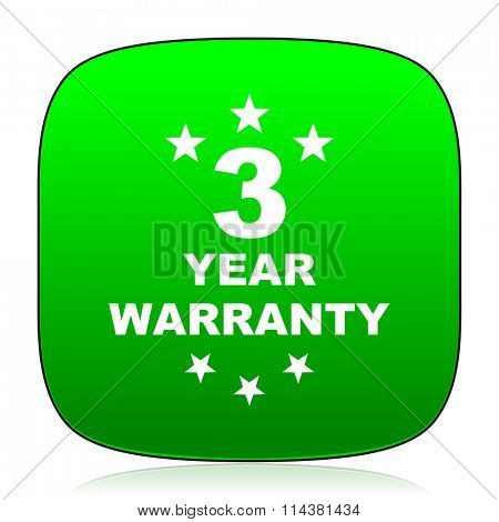 warranty guarantee 3 year green icon for web and mobile app