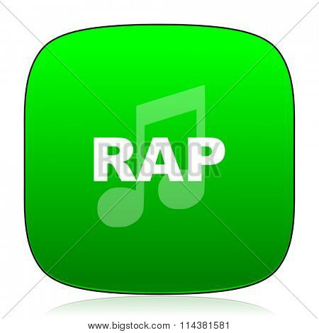 rap music green icon for web and mobile app
