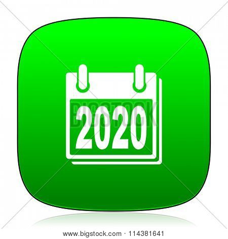 new year 2020 green icon for web and mobile app