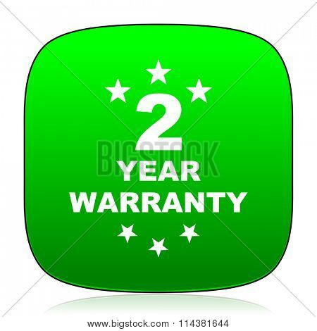 warranty guarantee 2 year green icon for web and mobile app