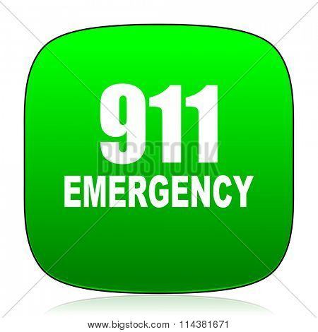 number emergency 911 green icon for web and mobile app