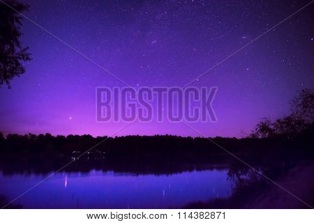 Beautiful Night Sky With Many Stars On A Lake