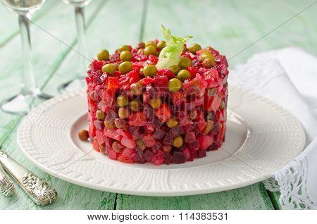 Traditional Russian And Ukrainian Vegetable Salad Vinaigrette